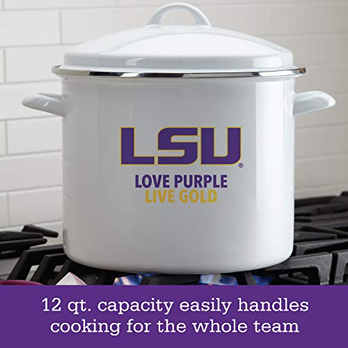College Kitchen 47632 LSU Tigers  Stock Pot/Stockpot with Lid - 12 Quart, White