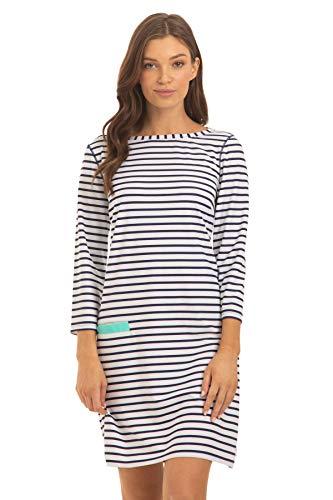 Cabana Life Essentials Cabana Shift Dress Cover-Up Navy/White Stripe LG
