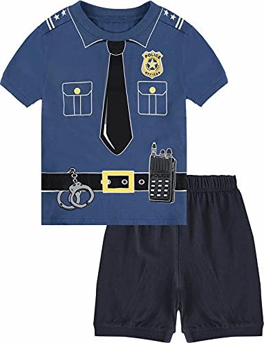MOMBEBE COSLAND Pyjama Jungen Polizei Halloween Schlafanzug Kurz Zweiteiliger 1-2 Jahre Blau