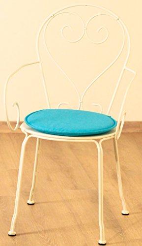 Générique Dessus Chaise Ronde Les 2 Bleu Traitement Special Exterieur Resistant AU UV Anti Tache DEPERLANT Jardin BISTROT Galette