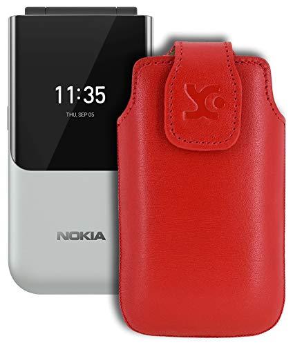Suncase Original Tasche kompatibel mit Nokia 2720 Flip Hülle Leder Etui Handytasche Ledertasche Schutzhülle Hülle in rot