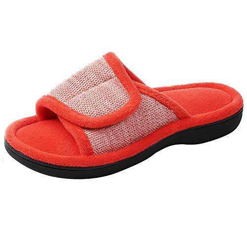 RockDove Women's Adjustable Wrap Memory Foam Slide Slipper, Size 11-12 US Women, Tangerine