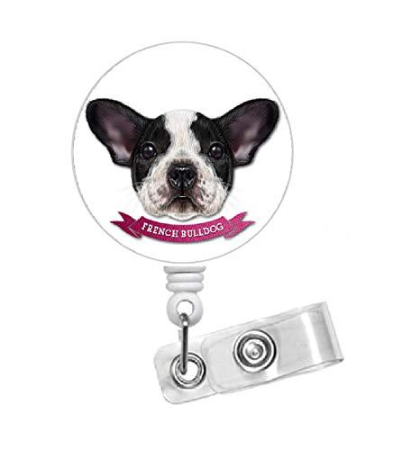 French Bulldog Retractable Badge Holder - RN Nurse Badge Clip - Dog Badge Reel - Nursing Badge - Teacher Badge Holder - Animal Badge Clip - Veterinarian ID - Vet Tech Badge (Alligator Swivel Clip)
