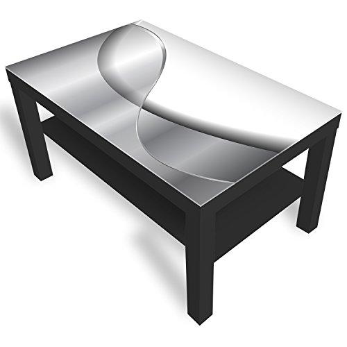 IKEA Lack Beistelltisch Couchtisch 'Abstraktion' Sofatisch mit Motiv Glasplatte Kaffee-Tisch von DEKOGLAS, 90x55x45 cm Schwarz