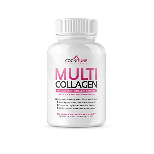 Multi Collagen Pills with Hyaluronic Acid and Vitamin C, Biotin - Premium Hair, Skin and Nails Supplement - Types I, II, III, V, and X Collagen Peptides for Women & Men – 90 Capsules