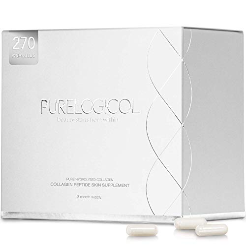 Collagen Supplement, Best Hydrolysed Collagen Peptides, 3 Months Supply for Younger Looking Skin - Pure Hydrolysed, Amino Acid Formula - Vital Proteins of Pure Collagen Powder, for Health, (270 x Collagen Capsules x 800mg)