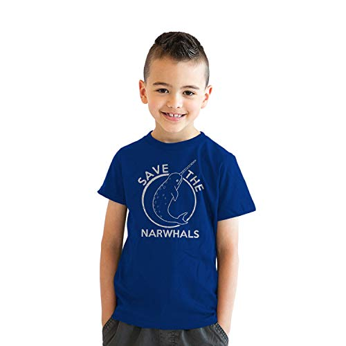 Youth Save The Narwhals Tshirt Funny Narwhal Unicorn Shirt for Kids (Blue) - XL