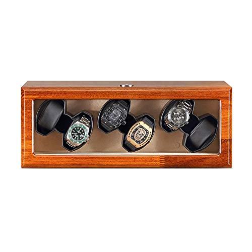 SLM-max Enrollador de Reloj automático,Caja enrolladora de Reloj automática de Madera Maciza Caja de Almacenamiento de 6 Relojes Motor silencioso Adaptador de CA Bat