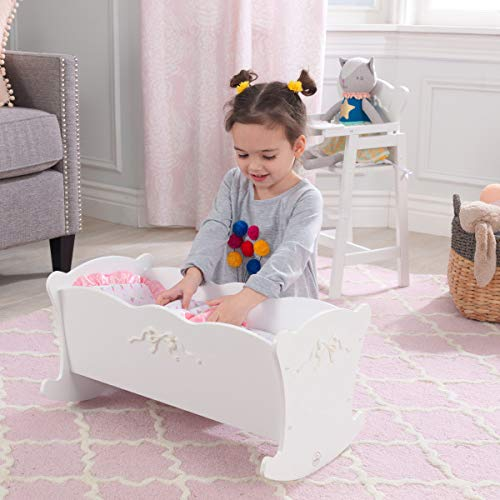 KidKraft Tiffany Bow Scalloped-Edge Wooden Lil Doll Rocking Cradle with Comforter, Pad and Pillow - White
