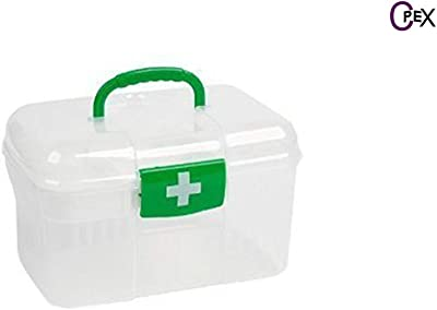 CPEX Medical First Aid Kit Emergency Medicine Storage Box Baby Drugs Medicine Chest with Handle & Removable Tray (Multicolor)