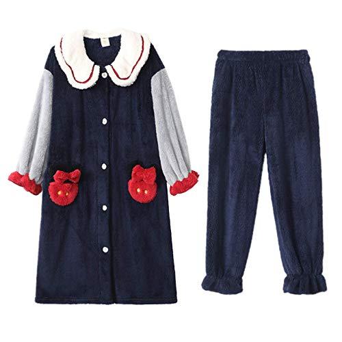 LEYUANA Conjunto de Pijamas de Franela para Mujer, Sudadera con Capucha cálida, Ropa de Dormir, Camisetas de Manga Larga, Pantalones, Ropa de hogar, Ropa de Dormir Suelta de Talla Grande XL Color4