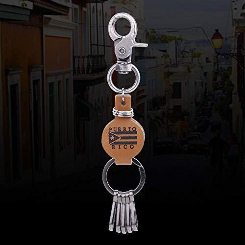 Zbzmm sleutelhanger graveren logo echt leer Puerto Rico voor vrouwen mannen sieraden