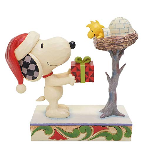 Enesco Peanuts by Jim Shore Snoopy Giving Woodstock a Gift Figurine