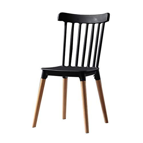 SLY Keuken Eetstoelen, Modern Plastic Planken Thuisgebruik Desk Slaapkamer Kantoor Onderhandelen Balkon Reception Lounge Side Chair (Color : Black)