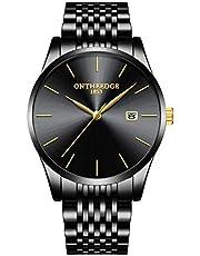 腕時計 メンズ 薄型 ビジネスカジュアル ステンレス オシャレ シンプル クォーツ アナログ 防水 日付 ファッション 男性ウォッチ 軽量 ブラック カレンダー 仕事 就活祝い フォーマル