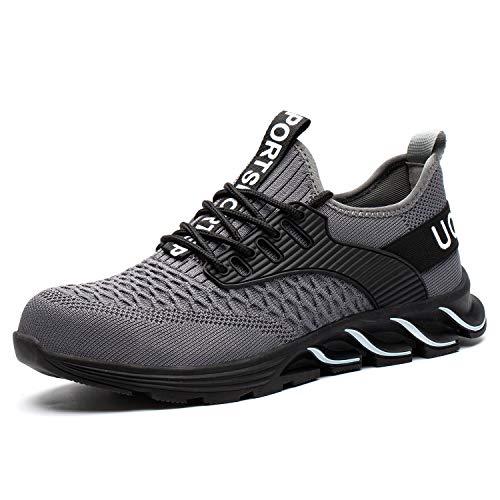UCAYALI Zapatos de Seguridad Hombre Trabajo Zapatillas Trabajar Calzado de Seguridad con Punta de Acero(Gris, 40 EU)