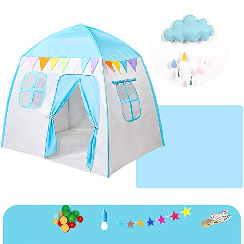 Topashe Large Kids Play House Play Tent,Children's indoor tent, baby play house-Blue E,Indoor and Outdoor Teepee Tent for Kids