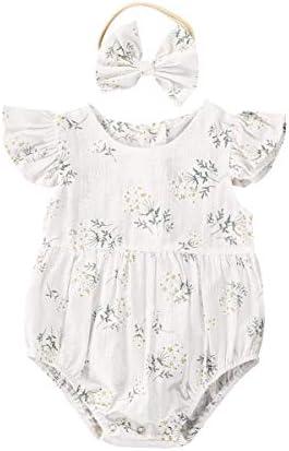 Newborn Baby Girl Romper Floral Ruffle Sleeveless Jumpsuit Cotton Bodysuit with Headband Summer product image