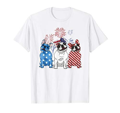 Red White Blue French Bulldog USA Flag 4th Of July Shirt