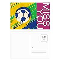 ブラジルサッカースポーツ ポストカードセットサンクスカード郵送側20個ミス