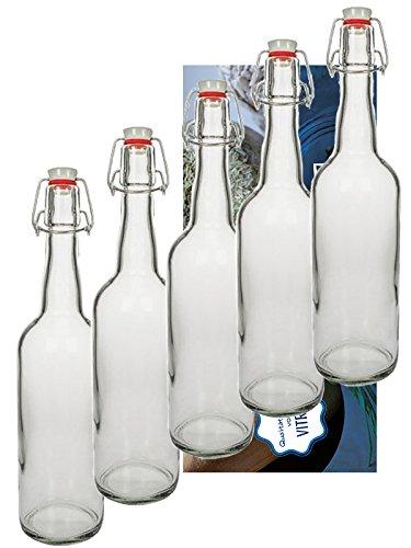 hocz 10er Set Bügelflaschen Bügelflasche Glasflaschen 750ml mit Bügelverschluss zum Selbstbefüllen Glas Bügelflachen