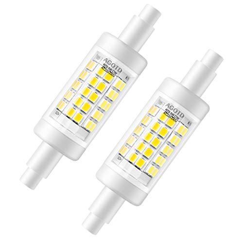 AGOTD 5W R7s LED Lampe 78mm Nicht Dimmbar, Kaltweiß 6000K AC220-240V Lineares Licht Ersetzt 30W 48W 60W Halogenlampe, 500LM 360 Grad Stab lampen, 2er-Pack