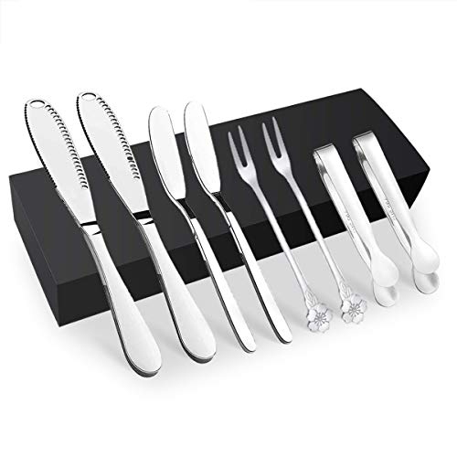 8 Pack Stainless Steel Butter Knife Spreader Kitchen Gadgets, 2 of Magic Butter Knives Spreaders, Classic Cheese Spreaders, Fruit Cocktail Forks, and Mini Serving Tongs for Cold Butter, Cheese, Jam