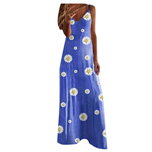 HULKY Robe Longue Femme Ete Boheme Grande Taille Robes Grande Taille pour Femmes Casual Summer Maxi Long Dress Sexy Spaghetti Strap Floral Printed Loose Tank Dress