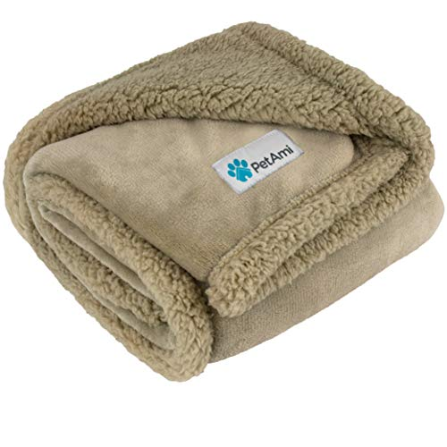 PetAmi Waterproof Dog Blanket for Medium Dogs, Puppies, Small Cats | Soft Sherpa Fleece Pet Blanket Throw for Sofa, Couch | Thick Durable Pet Bed Cover, Floor Mat 29 x 40 inches (Taupe Taupe)