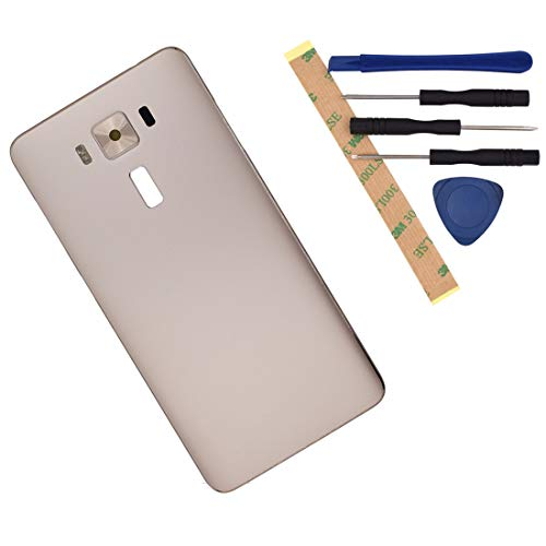 Replacement for Asus Zenfone 3 Deluxe 5.5 ZS550KL Metal Battery Back Cover with Rear Camera Glass Lens with Flash Switch Button(Gold)
