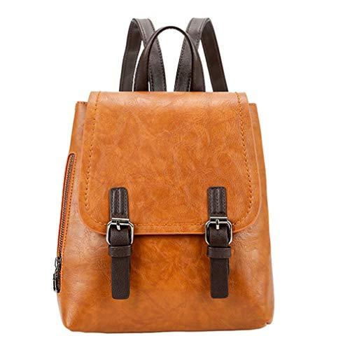 ASHOP Reine Farben Rucksack Damen Elegant Vintage Mädchen Daypacks Freizeit Lässiger Frauen Die Uni Modische Schulrucksack Umhängetasche (Braun)
