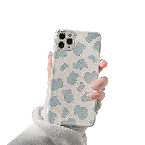 HHZY Funda Compatible con iPhone 12 Pro MAX Carcasa de Piel con Estampado de Vaca Funda de Cuero Premium Fina con Protector de Lente de Cámara Suave TPU Anti Choque Back Cover,Azul,XS