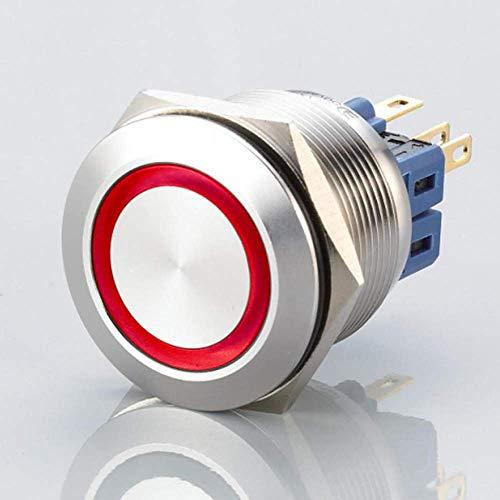 Flacher LED Schalter - Durchmesser Ø 25 mm - aus V2A Edelstahl - staub- und wasserdicht nach IP67 Schutzstandard AC/DC - witterungsbeständig und langlebig - Rot