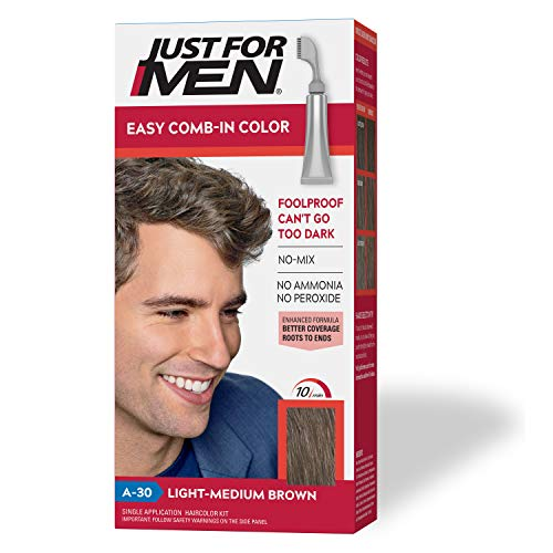 Just For Men Easy Comb-In Color (Formerly Autostop), Gray Hair Coloring for Men with Comb Applicator - Light-Medium Brown, A-30 (Packaging May Vary)