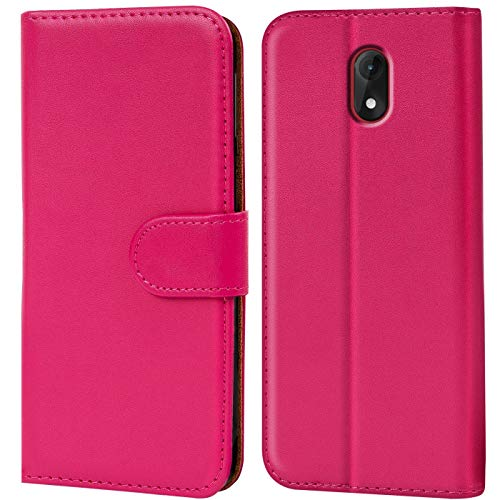 Verco Lenny 5 Hülle, Handyhülle für Wiko Lenny 5 Tasche PU Leder Flip Hülle Brieftasche - Pink