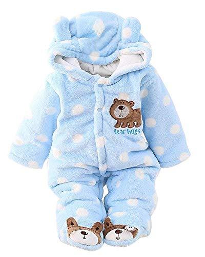 Minetom Unisex Bebés Recién Nacido Grueso Terciopelo Coral Mameluco Invierno Pelele Pijamas Niños Niñas Monos Caricatura Trajes Oso Polar Azul 12-18 Meses (86)