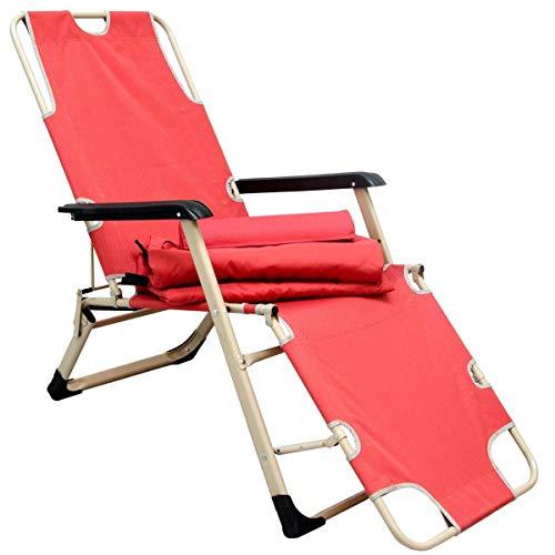 AMANKA Ligstoel met Bekleding en Kussen - 178cm Opklapbare Tuinstoel Camping Lounger Zonnebed Rood