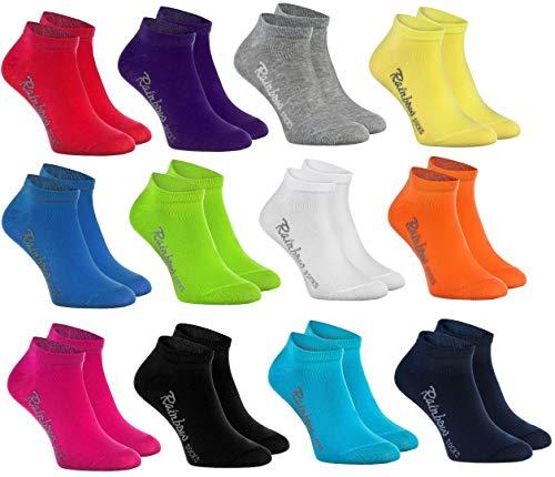Rainbow Socks -Ragazza e Ragazzo - Calzini Corti di Cotone - 12 paia - Multicolore - Taglia 30-35