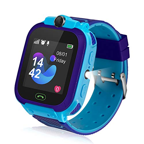 Kids Smart Watch, Kids LBS Tracker Watch Color Touch Screen Smartwatch with Camera Flashlight Smartwatch for Kids, SOS Emergency Call Watch, Kids Phone Watches Compatible with iOS and Android