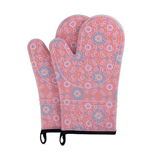 webake Oven Mitts 1 Pair Heat Resistant 500 Degree Cook Mittens with Cotton Lining for BBQ Cooking Set Baking Grilling Barbecue Microwave