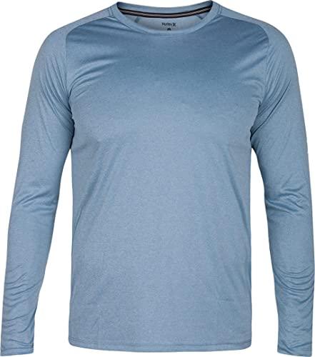 Hurley Men's Nike Dri-Fit Long Sleeve Sun Protection +50 UPF Rashguard, Noise Aqua Heather, S