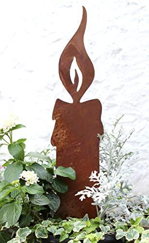 LB H&F Lilienburg Weihnachtsdeko Roststecker Rost Metall wetterfest (Kerze groß)