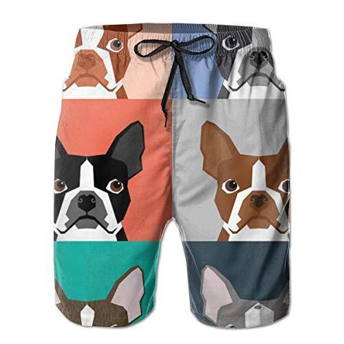 OKIJH Herren Badebekleidung Shorts Höschen Strandhose Fünf-Viertel-Hose Men's Swim Trunks Boston Terriers Art Holiday Beach Board Shorts