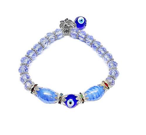 Pulsera de mujer Nazar Boncuk, cristal azul ojo turco, pulsera de deseos Evil Eye, pulsera de perlas, brazalete de protección, contra el mal de ojo