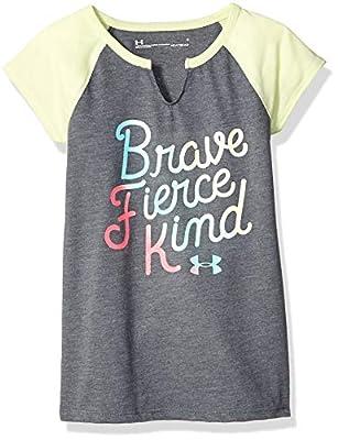 Under Armour Girls' Little Raglan Ss Tee Shirt, Pitch Gray-s19, 4