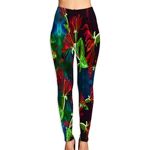 Benle Pantalones de Yoga para Mujer,Plantas cosméticas de la perfumería Medicinal de la madreselva Decorativas,Pantalones de Entrenamiento de Cintura Alta Medias elásticas de Yoga Impresas M
