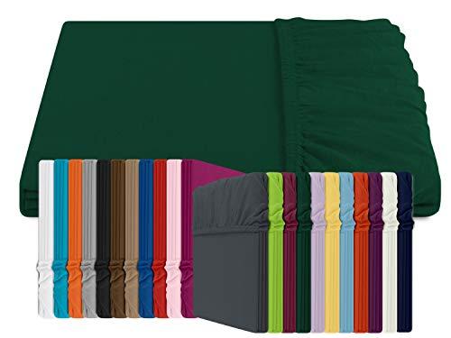 npluseins Jersey Spannbetttuch für Boxspring- und Wasserbetten - Exklusive Qualität in 22 Farbtönen - in 2 Größen - 100% Baumwolle, ca. 180-200 x 200 cm, dunkelgrün