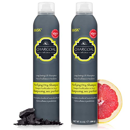 HASK Charcoal Clarifying Dry Shampoo Kits for all hair types, aluminum free, no sulfates, parabens, phthalates, gluten or artificial colors (6.5oz-Qty2)