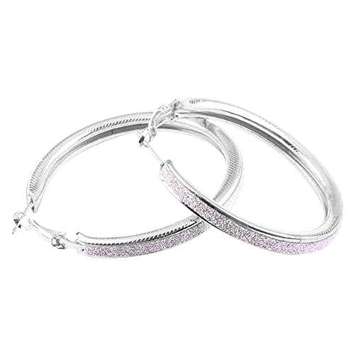 VektenxiVintage Alloy Dull Polish Drop Ohr Runde Hoop Dangle Eardrop Ohrringe Silber Sehr praktisch