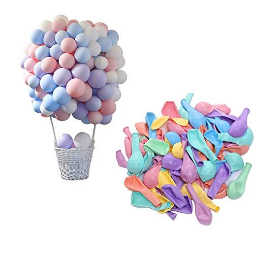 CozofLuv 100 Stück Heliumluftballons leuchtende Farben Blau Pink Rot Grün Lila Gelb Latex-Ballon Luftballons Deko für Hochzeit, Geburtstag, Taufe, Party (Macaron)